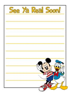 Journal Card - See Ya Real Soon! - Mickey Mouse and Donald Duck - lines - Photo: A little journal card by pixiesprite. Write on it and pop it. Scrapbook Journal, Scrapbook Layouts, Scrapbook Pages, Mickey Love, Mickey And Friends, Vacation Scrapbook, Disney Scrapbook, Mickey Mouse Classroom, Logo Clipart