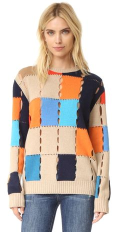 MSGM Colorblock Pullover with Holes | SHOPBOP