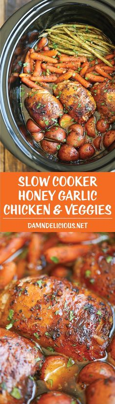 Slow Cooker Honey Garlic Chicken and Veggies - The easiest one pot recipe ever. Simply throw everything in and that's it! No cooking, no sauteeing. SO EASY! #recipes Recipes