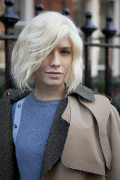 See All the Amazing Street Hair Styles From Fashion Month!: LONDON--Going platinum can be a hair health hazard, but hers looks great.