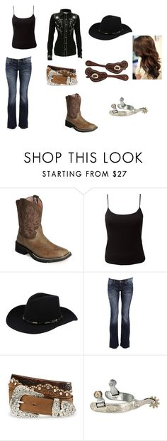 """""""barrel racing outfit"""" by willowgw ❤ liked on Polyvore featuring Ariat, EAST, Stetson, Carlos Miele and Tony Lama"""