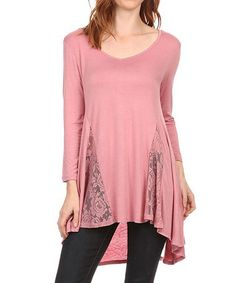 Look what I found on #zulily! Pink Carnation Lace Panel Hi-Low Tunic #zulilyfinds