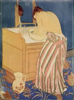 The Bath, Mary Cassatt, 1891  Influence of Japanese woodblock prints, revolutionary in Western art for her time, are seen in the use of negative space, outlining, lack of depth/shadow, patterns, and cropping.