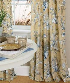 Seascape Toile Rod Pocket Curtains Evoke seaside memories with this lovely toile, composed of intricately detailed delicate shells, underwater life, flora and Striped Curtains, Blue Curtains, Rod Pocket Curtains, Beachy Curtains, Floral Curtains, Window Curtains, Mantelpiece Decor, Blue And Yellow Living Room, Curtain Store