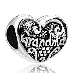 Heart Grandma 925 Sterling Silver Beads Charms Fits Pandora Bracelet Chamilia Compatible