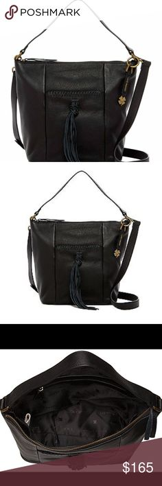 "Lucky Brand Black Leather Bag Lucky Brand Black Leather Bag.  NWT.  Basic black to wear with all outfits.  Genuine leather.  A rich leather construction and a tassel accent style the chic Carmen bucket bag complete with pockets inside and out for your around-town essentials. 10"" x 11"" x 4"" Adjustable shoulder strap Zipper top closure Lined interior features one zippered and two slip/cellphone pocketsn Exterior features one zipper and one magnetic snap pocket Leather Lucky Brand Bags Shoulder…"