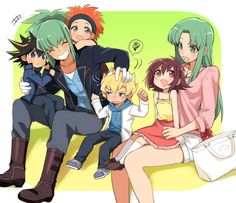Yusei, Leo, Crow, Jack, Aki and Luna
