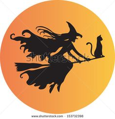 A Witch and her cat on a Broomstick flying in front of the moon - stock vector