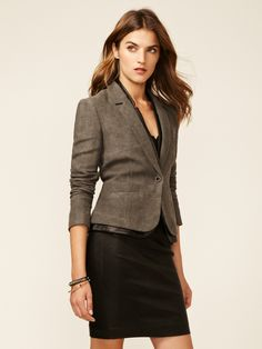 Zooey Leather Trimmed Linen Blazer by J Brand at Gilt