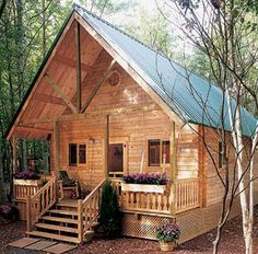 Build This Cozy Cabin For Under $4000 For our guests to stay in the back yard! Great guest house idea. Or even small cabin. Tall, pitched roofs are sweet!
