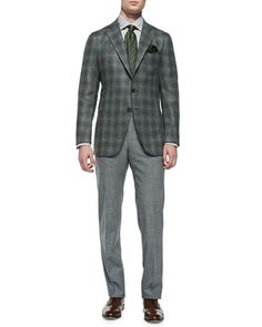 Plaid Soft Jacket & Wool-Flannel Trousers by Isaia at Neiman Marcus.