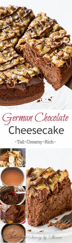 This rich and creamy german chocolate cheesecake will bring any chocolate lover to their knees. I'll show you how to make this decadent dessert with lots of step-by-step photos. (How To Bake Cheesecake) Brownie Desserts, Chocolate Desserts, Just Desserts, Delicious Desserts, Yummy Food, Chocolate Cake, Chocolate Cream, Decadent Chocolate, Health Desserts