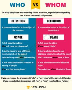 Differences between Who vs Whom. So many people use who when they should use whom, especially when speaking, that it is not considered a big mistake. English Writing Skills, Learn English Grammar, Learn English Words, English Language Learning, Teaching English, Writing Tips, Creative Writing, Grammar And Punctuation, Teaching Grammar