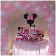 Minnie Mouse Party Table and Pink and White Balloon Arch by The Bling Factor!