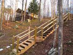 New stairs going down to lake; need to be stained. New stairs going down to lake; need to be stained Garden Stairs, Deck Stairs, Cottage Stairs, Safety Gates For Stairs, Outside Stairs, Sloped Backyard, Sloped Garden, Landscape Stairs, Rustic Stairs