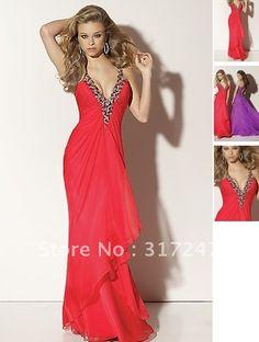 vestidos rojos escotados Vestidos de noche escotados