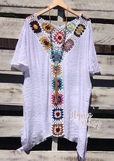 granny square tunic with fabric