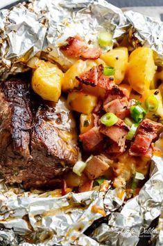 Garlic Steak & Cheesy Bacon Potato Hash Foil Packs - Cafe Delites
