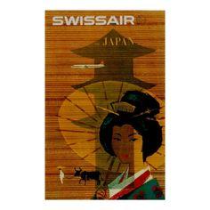 Japan ~ Vintage Swissair Travel Ad Posters