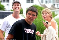 Having a moment: Patrick Schwarzenegger and Taylor Swift share a chuckle as they enjoy 4th of July celebrations at the Kennedy Family home in Hyannisport, Massachusetts