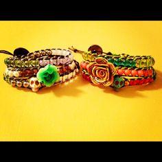 Beaded wrap bracelet with skull and flower beads.. $20.00, via Etsy.
