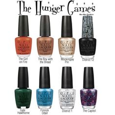 A fictional O.P.I nail polish line inspired by The Hunger Games.