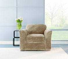 sure fit stretch plush 2piece chair slipcover sable sf40938 find out more about the