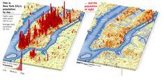 Population of Manhattan during daytime and during nighttime by Joe Lertola, via Ben Sawyer