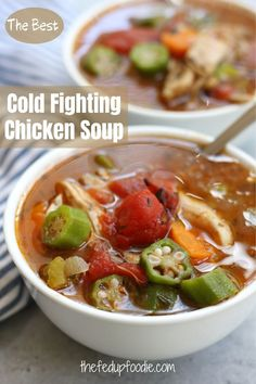 Soothing and comforting, this Cold Fighting Chicken Soup recipe is hearty, delicious and packed with vitamin rich veggies. Great for fighting off a cold and perfect when you need a big bowl of pure comfort. #ChickenSoupforCold #BestSoupforCold #MomsChickenGumboSoup #OldFashionedChickenSoup #ChickenSoupRecipe #GetBetterChickenSoup #ChickenVeggieSoup #ChickenSoupwithoutnoodles #ComfortSoups Chicken Gumbo Recipes, Okra Recipes, Seafood Recipes, Soup Recipes, Cooking Recipes, Healthy Recipes, Healthy Food, Supper Recipes, Kitchens