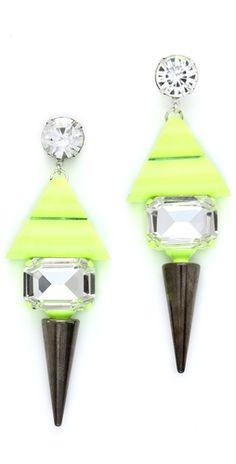 statement earrings, neon, spikes