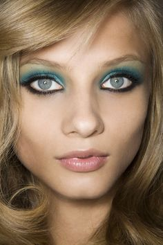 TREND ALERT:  #Aqua eyes are in for #spring.  Go bold with an all over eyeshadow, dark liner and baby pink lips.