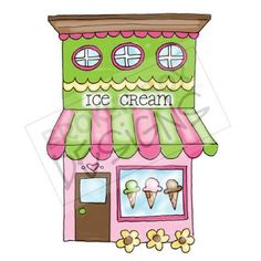 Boutique Buildings: Ice Cream Shop - Hand drawn clipart for sale wall mural window inspiration Art Fantaisiste, Calendar Pictures, Shrink Art, Drawing Clipart, House Quilts, House Drawing, Fairy Doors, Whimsical Art, Elementary Art