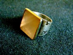 Stunning sterling silver bronze and mother of pearl statement ring- Silver 925 bronze  gemstone ring-Artisan jewelry-Greek art by ArchipelagosBreeze on Etsy
