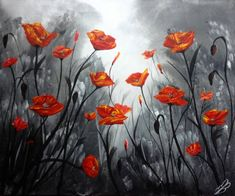 Buy Prints of Red Poppy Field, an Acrylic Painting on Canvas, by Marja Brown from , Sold out, Price is $455, Size is 19.7 x 23.6 x 0.6 in.