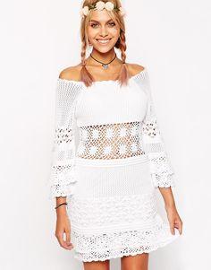 Image 1 ofASOS Crochet Dress With Off Shoulder