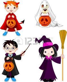Los ni os usan disfraces de Halloween Foto de archivo