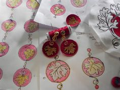 Machine embroidered earrings: my work in progress.
