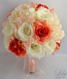Hey, I found this really awesome Etsy listing at https://www.etsy.com/listing/175341867/wedding-bridal-bouquet-silk-flowers