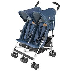 23.4lbs 29.75 wide With a sturdy frame and a fashionable design, Maclaren's Twin Triumph Double Stroller is perfect for pushing around your pair of little ones. It includes a raincover and waterproof hoods in case the weather becomes an issue.