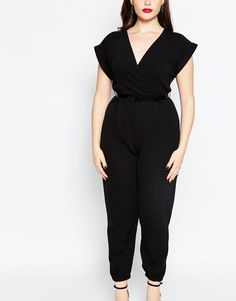 Image 3 of Boohoo Plus Wrap Front Jumpsuit With Belt