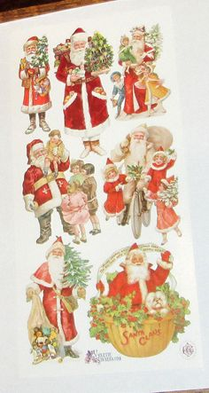 You will receive 1 sheet of new Violette brand stickers featuring cute victorian Santa claus and children stickers. 3 x 7 Please view my others in my Etsy store. Brand Stickers, Santa Claus Christmas Tree, Holly Leaf, Retro Floral, Decoupage Paper, Christmas Stickers, Victorian Christmas, Poinsettia, Etsy Store