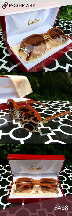 "VINTAGE MALMAISON CARTIER GLASSES!!! VINTAGE MALMAISON CARTIER!!  UNISEX...FOR MAN OR WOMAN!!!  GRADIENT TINTED LENSES!!!  ABSOLUTELY STUNNING & GORGEOUS!!!  CARTIER & CARTIER LOGO ENGRAVED IN LENSES NOSE PADS, ARMS, ETC!!!  SERIAL NUMBER ENGRAVED UNDER NOSE BRIDGE TO CONFIRM AUTHENTICITY!!!  SEE PICS FOR ALL OTHER ""CARTIER"" MARKINGS!!!  VERY VERY RARE PACKAGE!!!  INCLUDES CARTIER FRAMES, CARTIER GIFT BOX, CARTIER SUNGLASS CASE, CARTIER OWNER BOOKLETS, & CARTIER CLEANING CLOTH…"