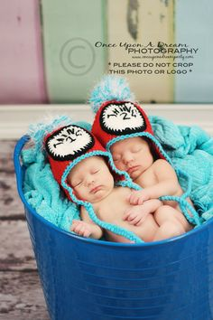 Thing 1 and Thing 2 Earflap Hats for Twins. $40.00, via Etsy.