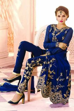 445451 Blue color family Party Wear Salwar Kameez in Faux Georgette fabric with Machine Embroidery,Resham,Thread work . Pakistani Couture, Pakistani Outfits, Indian Outfits, Indian Bridal Fashion, Asian Fashion, Indian Attire, Indian Wear, Desi Clothes, Indian Designer Wear