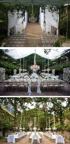 Beautiful use of chandeliers for wedding decor