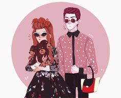 HIPSTER HADES AND PERSEPHONE. HE'S HOLDING HER PURSE.