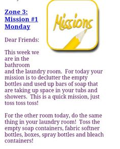 FlyLady Zone 3 Mission #1 Monday Fly Lady Cleaning, House Cleaning Tips, Cleaning Hacks, Flylady Zones, Declutter, Organize, Extra Bedroom, Empty Bottles, Wise Women
