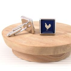 Rooster navy #handmade #cufflinks. Works well with white, cream, and pink shirts.