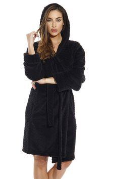 4b39c03ba7 Kimono Robe   Chevron Texture Fleece Hooded Bath Robes for Women - Black -  CN17YQOL5QM