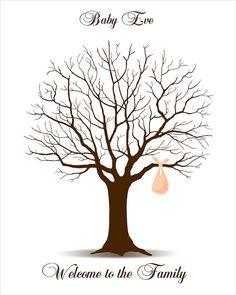 DIY Baby Shower Fingerprint Tree - Printable PDF File - Digital Thumbprint Signature Tree with Baby Bundle on Etsy, $18.00